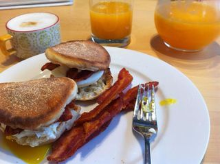 Bacon egg brie muffin